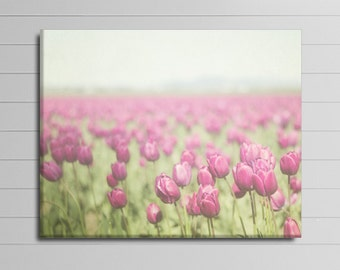 Flower Canvas, Large Wall Art, Purple Home Decor, Pink Tulip Photograph, Floral Wrapped Canvas, 30x40 Photography