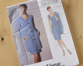 Vintage Vogue Sewing Pattern 1404  - Oscar de la Renta  - Misses Jacket and Dress - Size 14-18