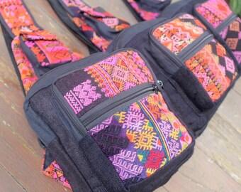 Tribal Backpack One Shoulder Bag Ethnic Mien Embroidery Hemp Bag