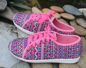 Funky Womens Sneaker Shoe In Hmong Embroidery Vegan Trainers - Jamie