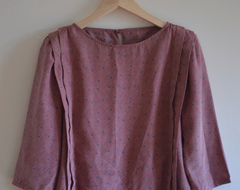 1980s Maroon, pink and grey pattern print blouse/top - Size 12