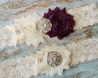Eggplant Wedding Garter, Wedding Garter Set, Bridal Garter, Lace Garter, Custom Garter, Toss Garter Included