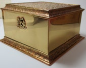 Brass vintage jewelry or trinket box or jewelry casket  made by K & Company Quadruple Plate