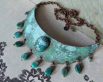 Verdigris Patina, Copper, Turquoise, Scarab Necklace