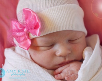 First Bow Newborn Hospital Hat Sparkle Tullet (newborn girl hat, newborn beanie, newborn hospital hat with bow, first bow)
