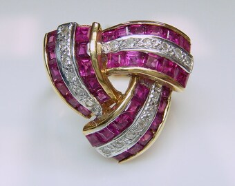 ON SALE - 14k Ruby & Diamond Art Deco Style Ring