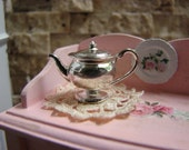 Dollhouse Miniature Vintage Victorian Style Shiny Silver Plated Metal Teapot