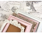 Shabby Chic Nursery PICTURE FRAMES - Distressed Vintage Style - w/ Glass N Backing