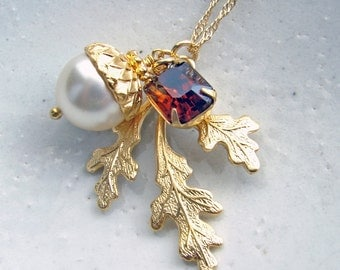 White Acorn Necklace. Fall Fashion. Autumn Wedding. Vintage Inspired Jewelry by Smallbluethings