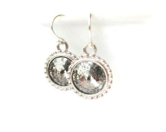 swarovski silver rivoli earrings drop earrings like mercury glass crystal earring sterling silver gift idea for her spring gift idea for her