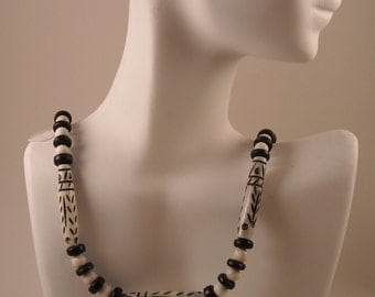 Afrocentric Bone Wood Beads and Magnesite Beads Male Necklace Mens Man Unisex Woman Women