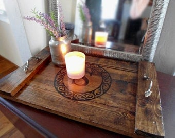 Farmhouse Coffee Table Tray Rustic Decorative Wooden Serving Tray Personalized Wedding Gift Bridal Shower Gift ottoman Housewarming