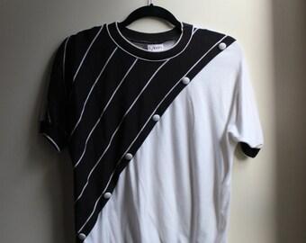 1980s Black & White Half Stripe Shirt