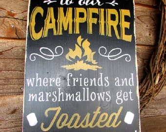 primitive country sign, outdoor sign, wall decor, campfire sign, funny sign, home decor, primitive, country, distressed, wood sign, painted