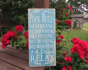 pool rules sign, primitive country wood sign distressed sign, hand painted sign, outdoor decor, porch decor, family rules wall art, sign