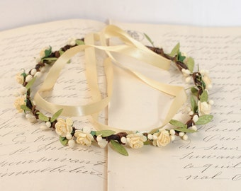 Flower Headband Wedding Flower Crown Floral Hair Wreath Bridal Headband Rustic Head Wreath Flower Headpiece Wedding Hair Piece Twig Tiara