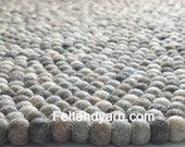 Felt ball rug natural handmade in Nepal, felted ball rugs, handmade felt ball rugs, free delivery