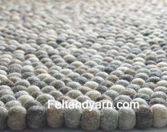 Natural colors felt all rug, Felt ball rug natural handmade in Nepal, felted ball rugs, handmade felt ball rugs, free delivery