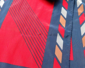 Vintage VERA NEUMANN Scarf with Navy Blue, Red, and Brown Colours