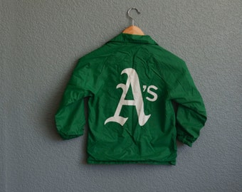 1970s CHILD 6-8 OAKLAND A's monogramed children's starter jacket