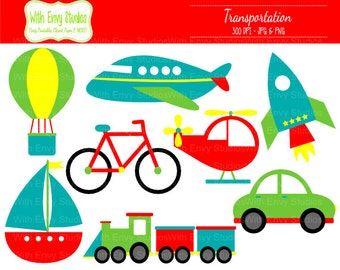 50% OFF  Transportation Clipart - Travel Clipart - Vehicle Clip art - Boat Clipart - Airplane Clipart - Commercial Use