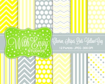 SALE  Yellow and Grey Digital Paper - Yellow and Gray Scrapbook Paper - Chevron Digital Paper - Polka Dot Paper - Commercial Use OK