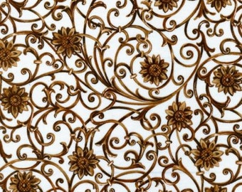 Brown Floral Fabric, Sunflowers by Blank Quilting, Floral Fabric, Flowers, 02132