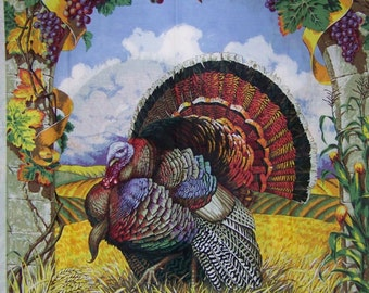 Turkey, Turkey Door Panel, Harvest Fabric, Thanksgiving Fabric, 1 Panel, 05154
