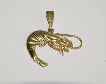 Shrimp Charm or Pendant - Bright Rich Gold Finish - Highly Detailed