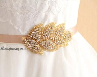 Gold Leaf Crystal Rhinestone Sash, Bridal Rhinestone Sash, Bridesmaid Sash, Flower Girl Sash