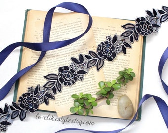 Navy  Beaded Lace Sash, Navy  Lace Headband ,  Bridal Headband, Bridesmaid Sash, Flower Girl Sash / SH77