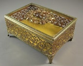 Ormolu Filigree & Glass Jewelry Casket // Trinket Dresser Box // from UBlinkItsgone