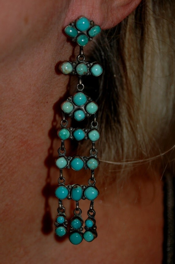 Vintage Sterling Silver Amp Turquoise Earrings By Navajo Emma
