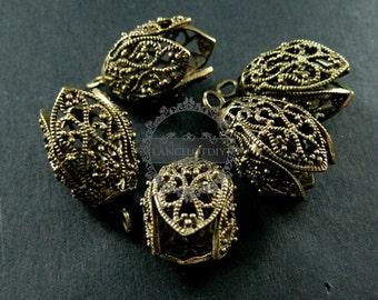 6pcs 16x16x25mm vintage style bronze brass antiqued filigree flower DIY beads cap earring chandelier supplies 1810356
