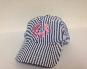 CHILD (youth) size Seersucker unstructured ball cap.   Monogrammed in your choice of font and color