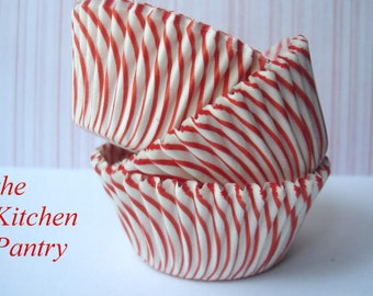 Cupcake Liners -  Baking Cups -  Candy Cups  Red  Stripe   ( 50 )