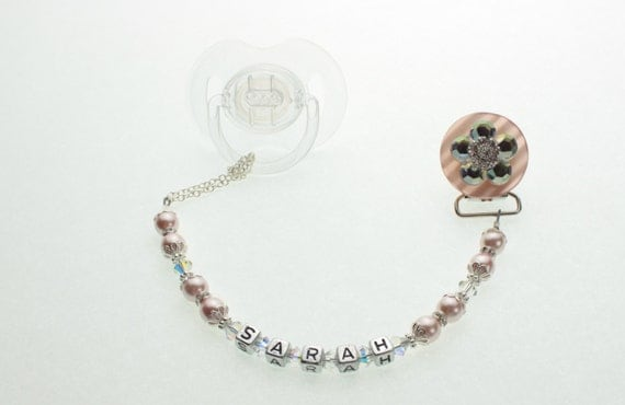 Personalized Name Baby Pink Pacifier Clip available in white too (CPFNAME)