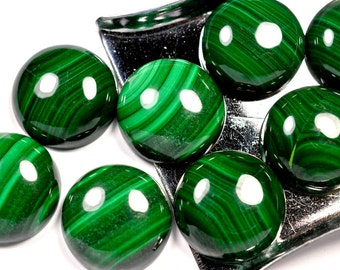 Malachite cabochon - 15 x 15 mm round AAA quality - smooth polished - flat back
