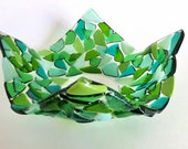 Petal Shaped Fused Glass Bowl - Lily Pad Greens  - Mosaic - Organic