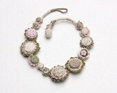 Floral crochet necklace, fiber jewelry with fabric buttons, green cream pink, OOAK