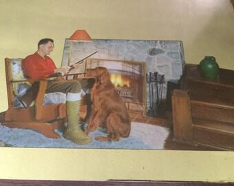 Vintage Hunting Lodge Mirror Jackson Motor Co Advertising