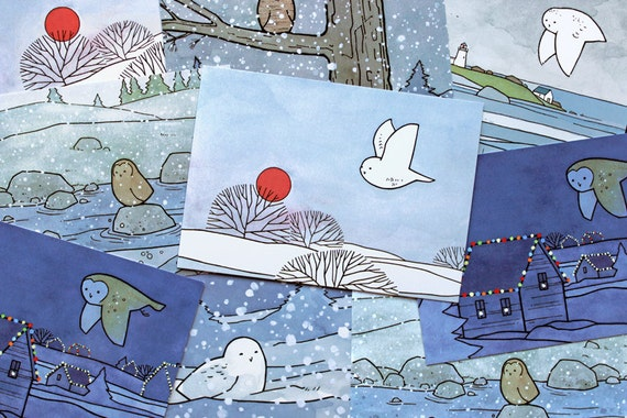 Holiday Owl Postcards - Whimsical Christmas and Winter Illustrations