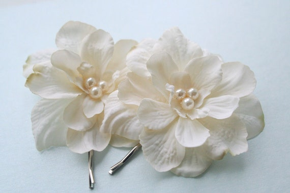 Bridal Ivory Flower Hair Accessories : Ivory flower hair rustic bridal hairpiece