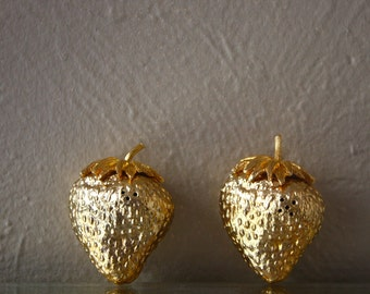Vintage Mid-Century Golden Strawberry Salt and Pepper Shakers