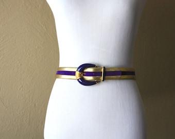 Vintage St. John's Indigo Suede and Gold Leather Belt
