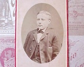 Charming Victorian Era Photograph of Boy Dressed in Suit-Cherry Red Border