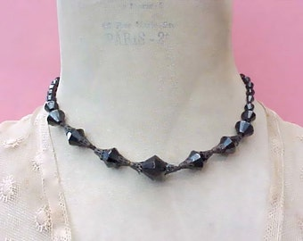Unusual and Pretty Vintage Necklace with Black Beads and Filigree Bead Caps