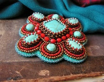 Turquoise Red Brooch Beadwork Brooch Bead embroidered Brooch Turquoise jewelry Oriental Ethnic jewelry Turquoise Red Copper MADE TO ORDER