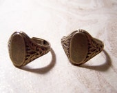 2 Ring Blanks Ox Brass Floral Style Oval Glue on Pad adjustable ring for jewelry
