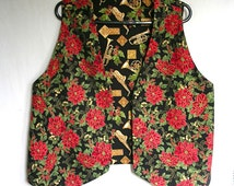 Poinsettia Christmas Vest Musical Instruments Reverse Ladies Large